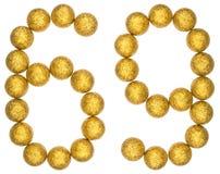 Chiffre 69, soixante-neuf, des boules décoratives, d'isolement sur le blanc Photographie stock libre de droits