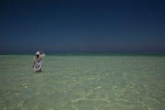Chiffre solitaire sur la plage dans Michamwi-Pingwe Zanzibar, Images stock