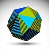 Chiffre spatial vif de contraste de vecteur du résumé 3D, art sphérique illustration de vecteur