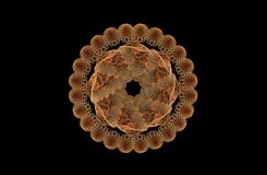 Chiffre symétrique d'or de fractale abstraite sur le noir Image stock