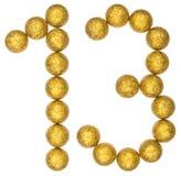 Chiffre 13, treize, des boules décoratives, d'isolement sur b blanc Image libre de droits