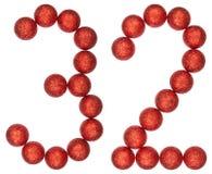 Chiffre 32, trente-deux, des boules décoratives, d'isolement sur le blanc Photos libres de droits