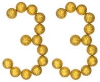 Chiffre 33, trente-trois, des boules décoratives, d'isolement sur le whi Photo stock