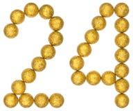 Chiffre 24, vingt-quatre, des boules décoratives, d'isolement sur le petit morceau Images stock