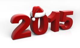 2015 chiffres avec le chapeau de Santa Images stock