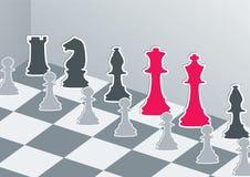 Chiffres d'échecs avec le roi et la reine rouges Photos libres de droits