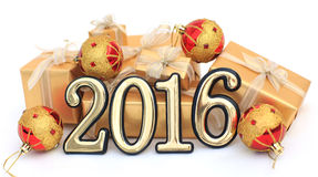chiffres d'or de 2016 ans Images stock