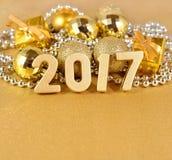 chiffres d'or de 2017 ans Photographie stock libre de droits