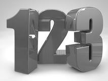 123 chiffres 3d en métal rendent l'illustration Photographie stock libre de droits