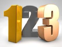 123 chiffres 3d en métal rendent l'illustration Image libre de droits