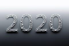 2020 chiffres d'or faits de boules illustration stock
