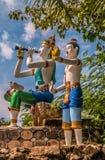 Chiffres de décorations en dehors de phra yai de Wat, images libres de droits