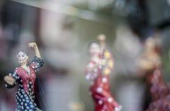 Chiffres de danseurs de flamenco à la boutique de souvenirs Images libres de droits