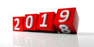 Chiffres de la nouvelle année 2019 sur les cubes rouges d'isolement sur le fond blanc illustration 3D illustration stock