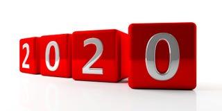 Chiffres de la nouvelle année 2020 sur les cubes rouges d'isolement sur le fond blanc illustration 3D illustration libre de droits