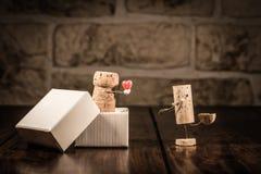 Chiffres de liège de vin, présent d'amour de concept Images stock