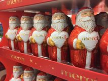 Chiffres de Noël de chocolat de Merci photographie stock libre de droits