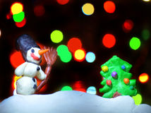 Chiffres de Noël d'argile Photos libres de droits