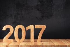2017 chiffres de nouvelle année sur la table en bois Photographie stock