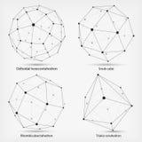 Chiffres de vue Formes géométriques complexes Géométrique abstrait Une série de papiers Élément polygonal de maille de Wireframe