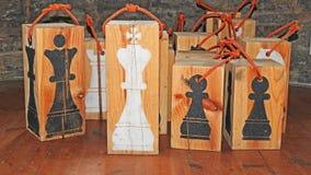 Chiffres en bois abstraits d'échecs Images libres de droits