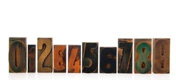 Chiffres en bois d'impression Photo stock