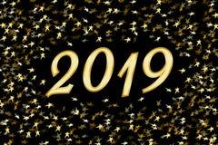 Chiffres 2019 et confettis d'or Images libres de droits