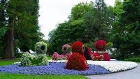 Chiffres floraux des canards sur l'île de Mainau en Allemagne Images stock