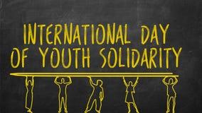 Chiffres humains tirés stockant le texte : jour international de la solidarité de la jeunesse illustration de vecteur
