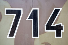 714 chiffres militaires sur le camouflage Photographie stock libre de droits