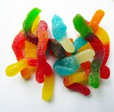 Chiffres multicolores de gelée rassemblés en un tas photo stock