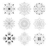 Chiffres ornementaux de griffonnage régulier de forme dans des couleurs monochromes pour Zen Adult Coloring Book Set des illustra Images libres de droits