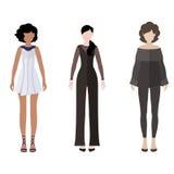 Chiffres plats de personnes d'icône de style de femmes réglés Image stock