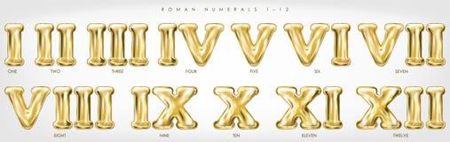 Chiffres romains 1-12 par les ballons d'or d'aluminium illustration libre de droits
