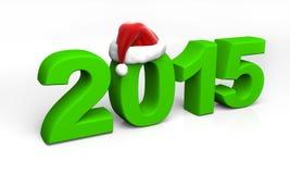 2015 chiffres verts avec le chapeau de Santa Photographie stock libre de droits