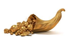 Chifre da abundância com fruta do ouro Imagens de Stock