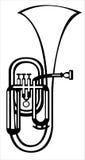 Chifre do alto da tuba da ilustração do vetor no branco Foto de Stock
