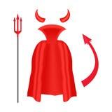 Chifres, tridente, envoltório e cauda do diabo isolados no fundo branco Foto de Stock Royalty Free