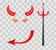 Chifres, tridente, olhos e cauda do diabo no fundo quadriculado transparente Ilustração do vetor Fotografia de Stock Royalty Free