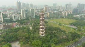 Chigangpagode in Guangzhou-Stad Guangdong China Lucht Mening stock footage