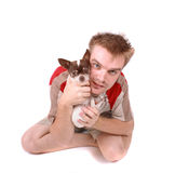 Chihuahua and boy Royalty Free Stock Images