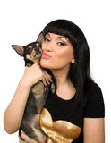 Chihuahua Pet And Brunette Female Isolated Stock Photo