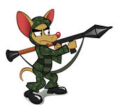 Chihuahua with the rocket launcher. Chihuahua dressed in a military uniform with a rocket launcher vector illustration