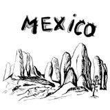 Chihuahua state rocks - Mexico. Hand drawn Royalty Free Stock Photos