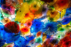 Chihuly exponeringsglas färgar och modeller Arkivfoto