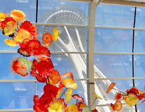 Chihuly Garden and Glass Museum, Seattle. SEATTLE, July 29, 2017: Chihuly Garden and Glass museum featuring one of Dale Chihuly`s largest sculptures suspended Royalty Free Stock Image