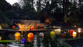 Chihuly Glass Sculpture in Water Feature at Night Royalty Free Stock Photography