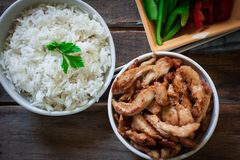 Chiicken με το ρύζι στοκ εικόνα με δικαίωμα ελεύθερης χρήσης