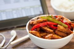Chiicken with rice stock images