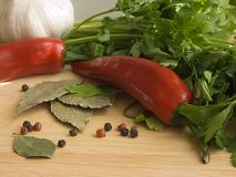 ChiIli & Spices I. Chilli, spices and parsley on a wooden chopping board Stock Photos